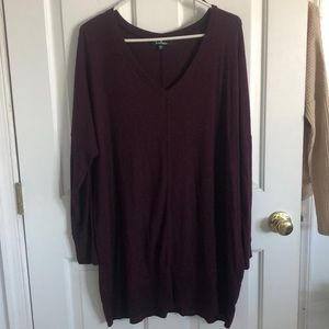 Plum Purple Long Sleeve Sweater Dress